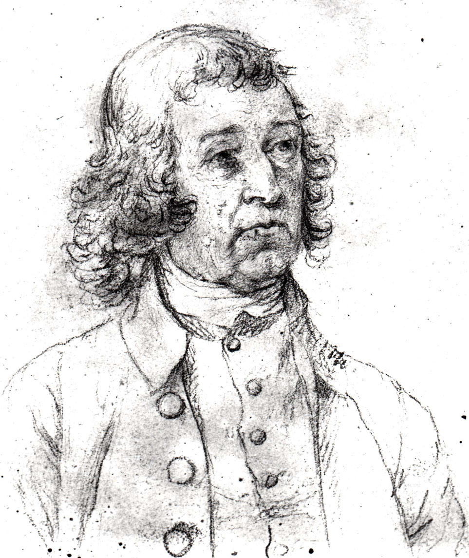 A pencil drawing of a man with long curly hair, looking to the right. He wears a shirt with a high neck, a vest with small buttons, and a collared coat with large buttons.