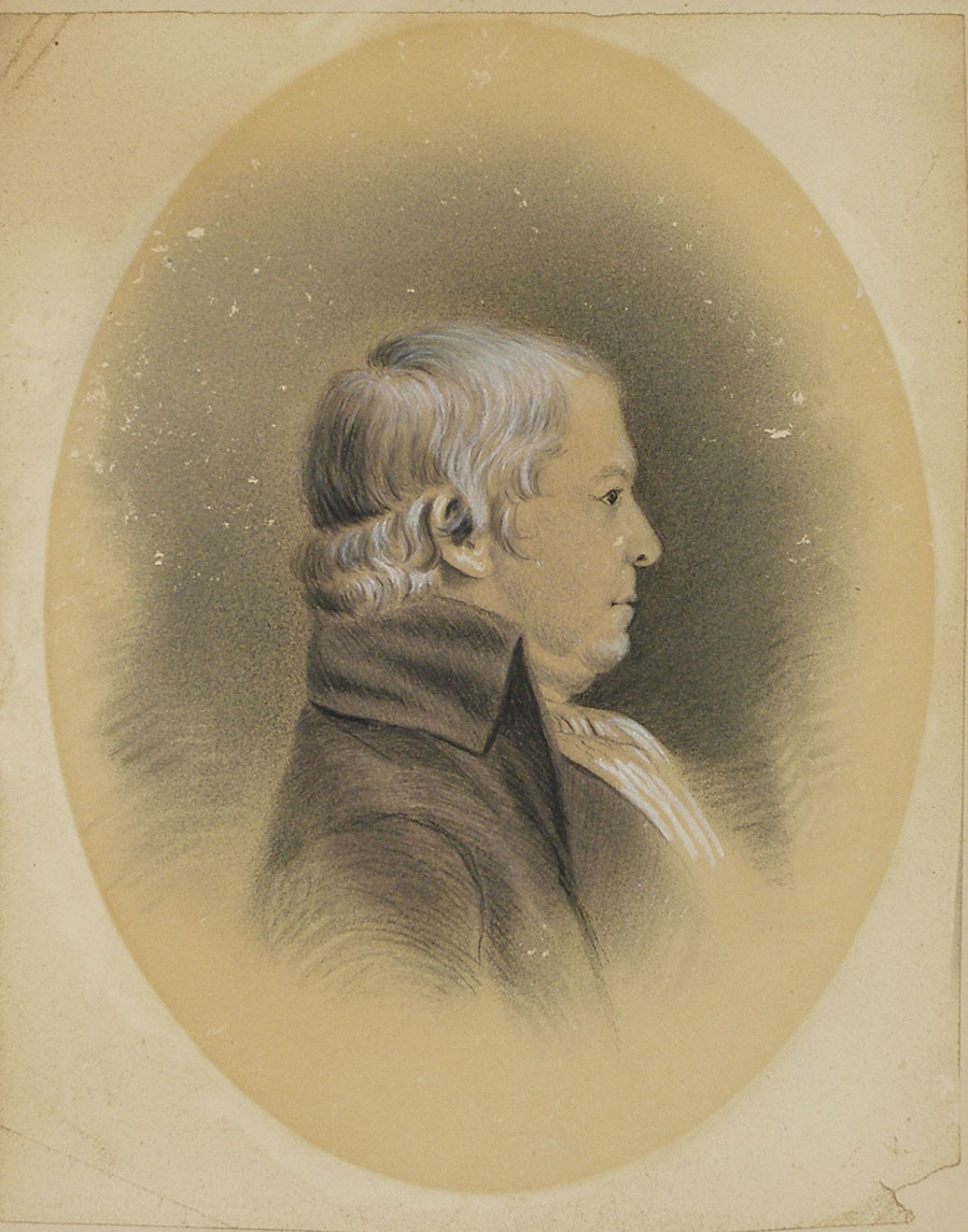 A colored painting of a man with short white hair, facing the right. The man wears a white tie and a gray coat. His portrait is oval-shaped.