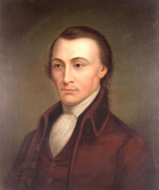 A colored painting of a man with brown hair, looking to the left. He wears a high-necked white shirt and a reddish-brown vest and coat.