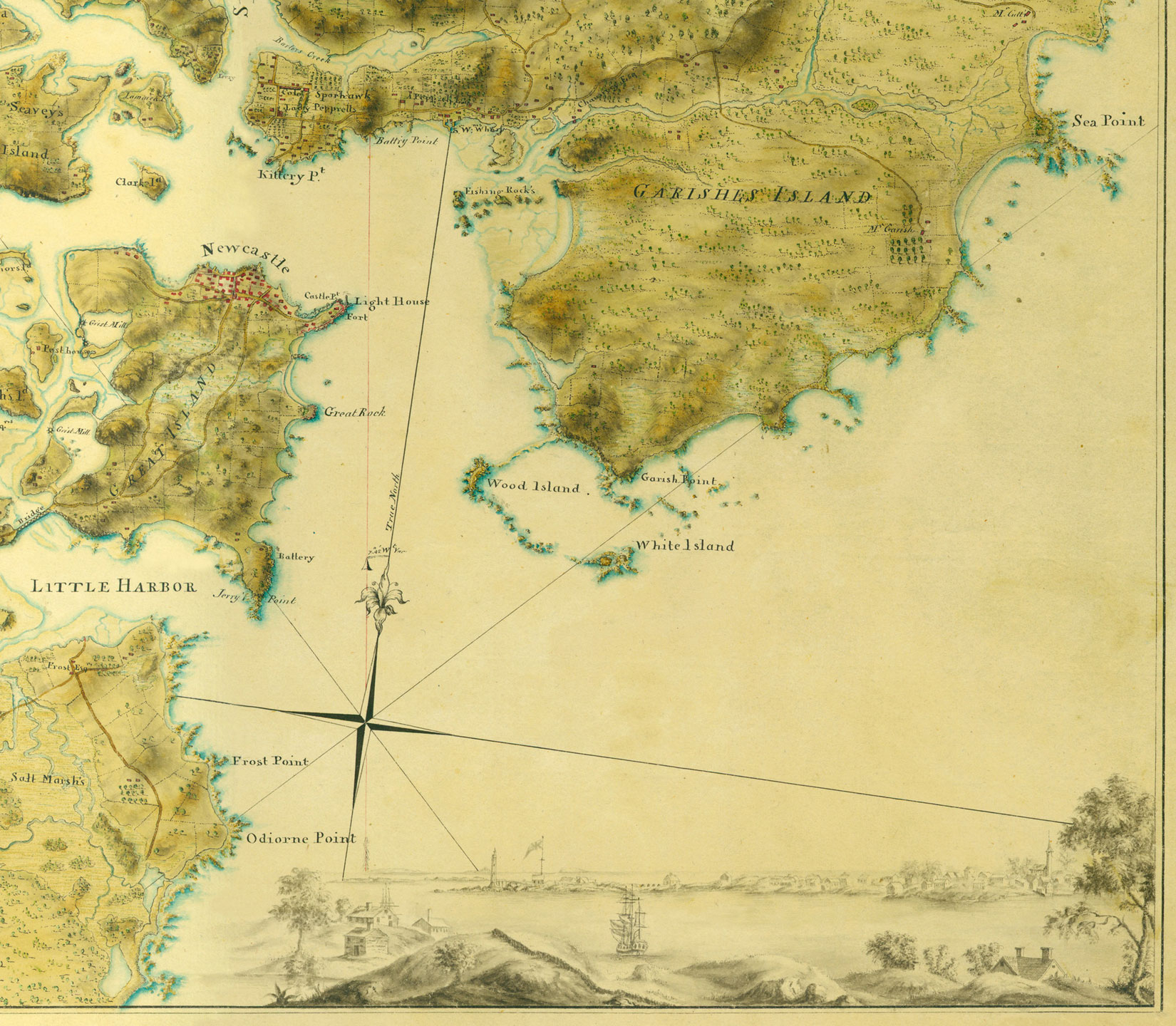 A historic map is shown of islands, shoreline, and bays. The water is light yellow and the land is darker with grass and rivers indicated. A compass is in the middle of the map in the water. A few islands, bays, and settlements are marked on the map. On the bottom fifth of the map is a drawing of a settlement. It is on the coast and has houses, trees, and ships.