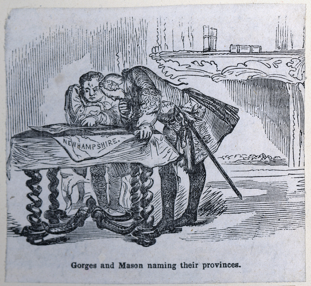 In a black and white cartoon, two figures are seen bending over a desk, looking at a piece of paper. They are dressed in formal clothing from the 1600s, and one of them wears a sword. The table and mantle behind them are ornate. Over the tablecloth, a corner of the paper hangs and the viewer can see it says