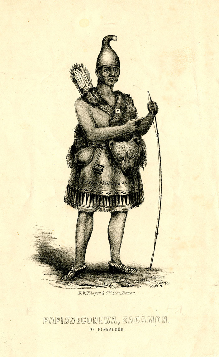 A drawing of a man in Native American dress is shown. He holds a bow and has arrows in a quiver on his back. He wears animal skins and a woven skirt, and has a curved smooth head covering. His sandals are hand made and his lower legs are bare. The caption reads
