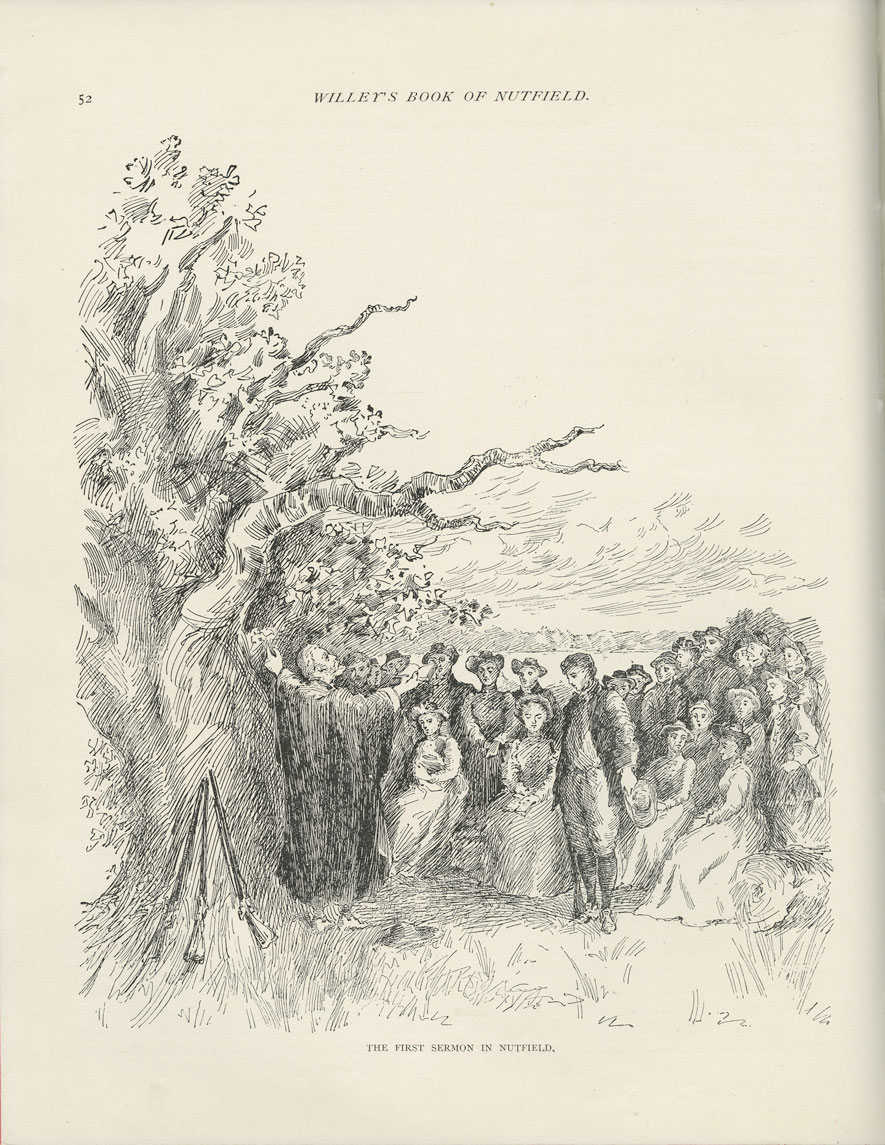 A black and white sketch shows an outdoor scene with a large tree with a thick trunk on the left. Under it a man stands with his arms outstretched to the sky. Facing him are a crowd of people, some sitting in front and some standing. The women wear long dresses and the men suits; most people wear hats. In the distance, there are clouds and many trees.