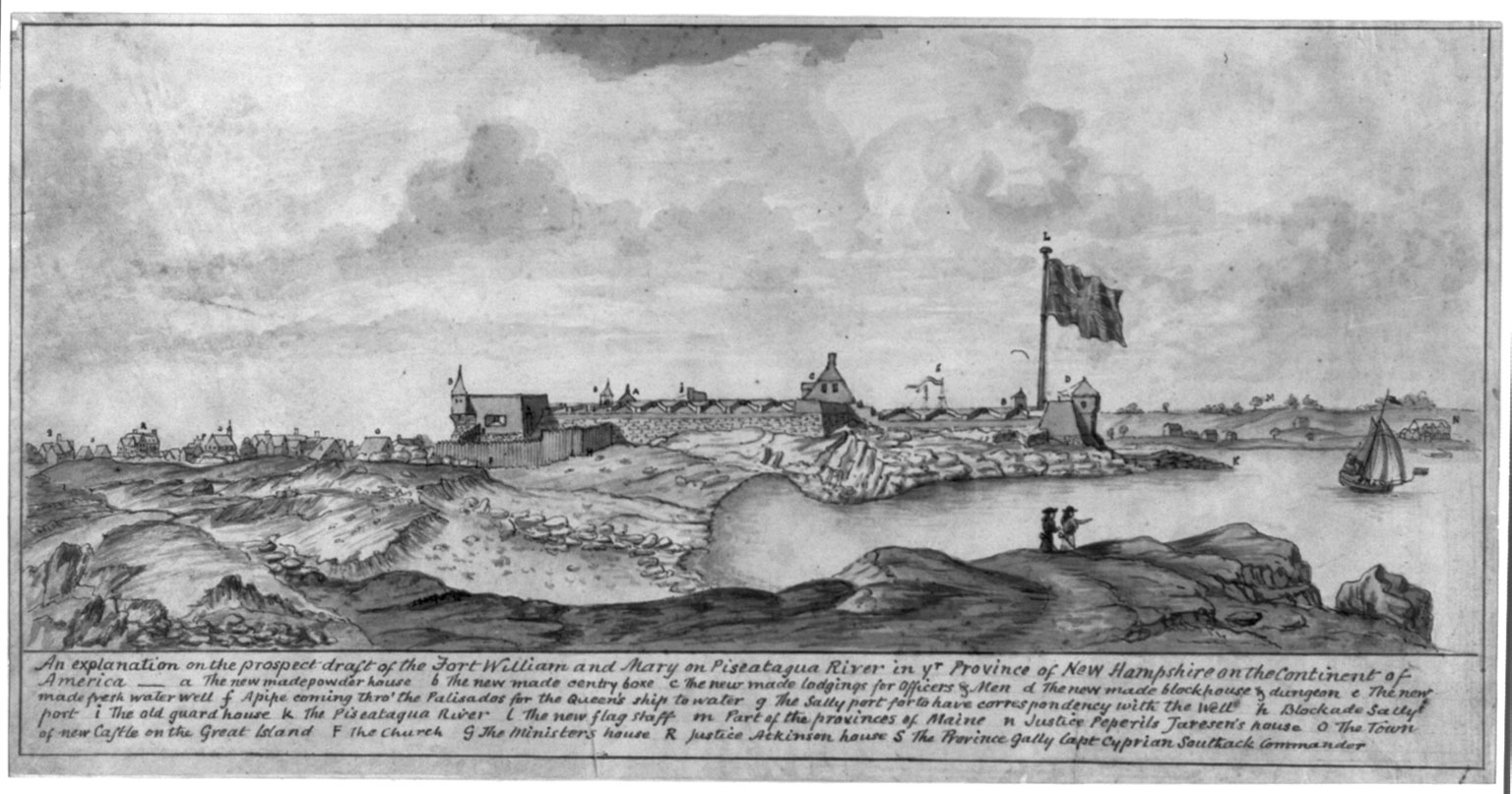 A black and white drawing shows a view of a landscape. A river enters from the right side, and land surrounds it in a bay. There is a large sailboat on the river. In the center is a series of buildings with some towers connected by walls. There is a large flag hanging over the right side of the walls. A village is further away on the left side. Two figures stand on rocks in the foreground. At the bottom is script writing  identifying various features in the drawing.