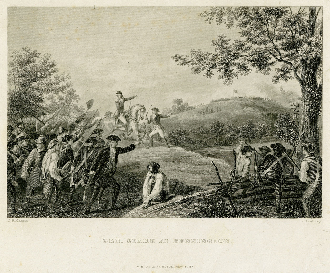 A detailed engraving shows a scene in rural country. In the center are two men with swords, one riding a horse and one holding it. Both are pointing to the right and looking to the left. To their left are a crowd of men, some in uniforms and some in farmer-like clothing, but all with weapons. They look towards the men in the middle and raise their swords. On the right of the men in the middle are trees and a hill far away. On top of the hill is a flat building with a flag on it and some small figures. In the foreground are several men climbing over a fence pointing to the hill. They are also armed, and seem to be joining the crowd of men on the left.