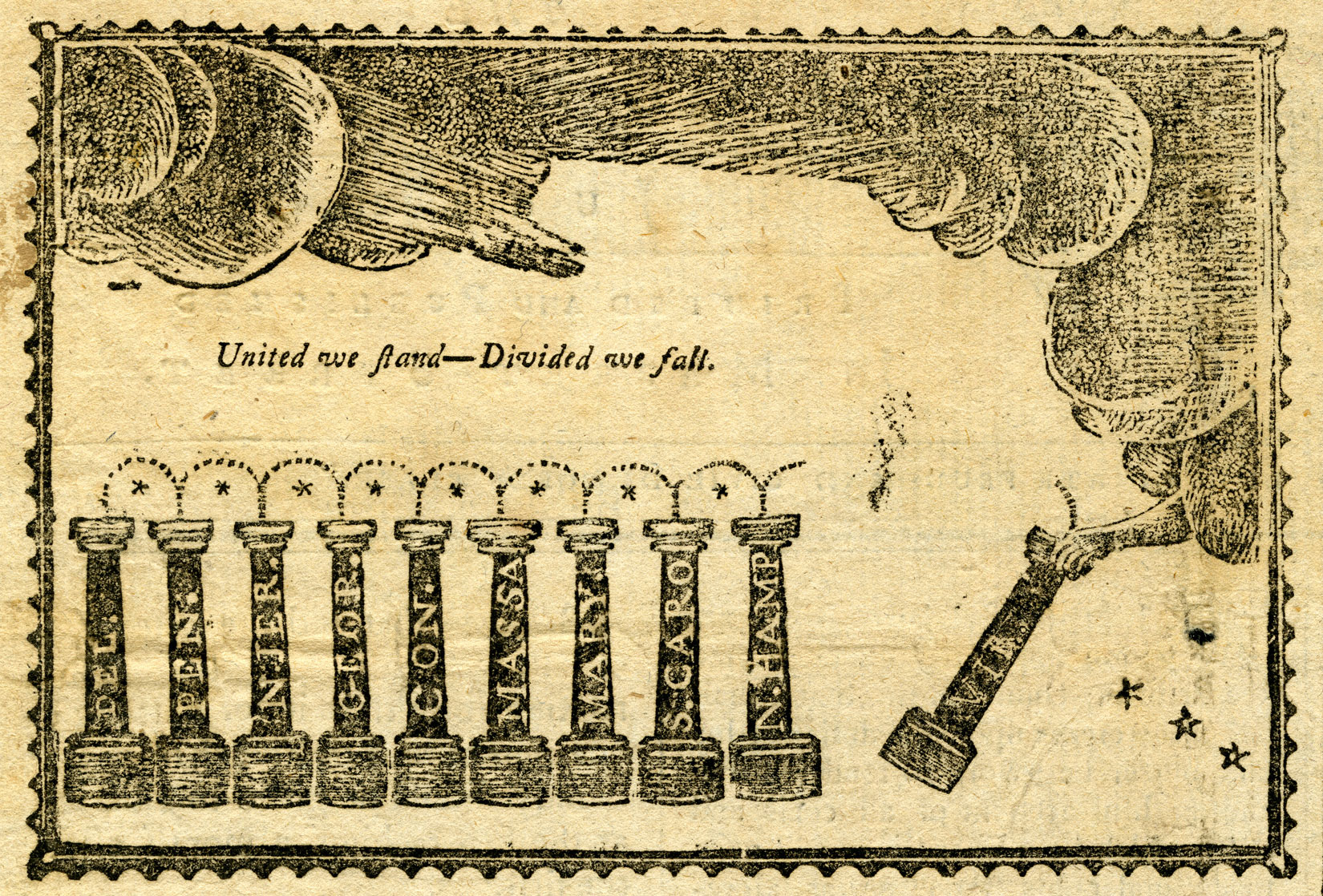 An engraving shows a symbolic drawing. There are nine pillars, each about a third of the height of the drawing, lined up next to each other. They each have letters on them. From left to right, they read