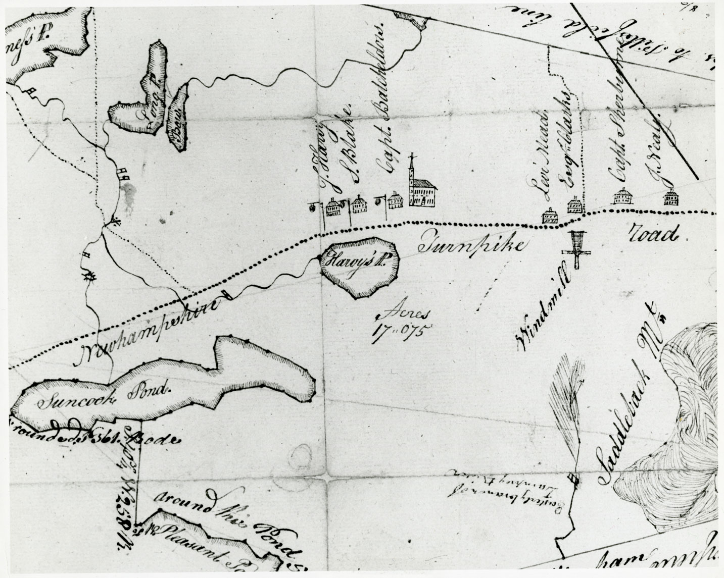 A close up of a black and white hand-drawn map shows a dotted line running horizontally through the page. Below the line are a few ponds as well as acres marked and other items of interest. Directly above the line sit seven small houses and a church. There are other rivers and ponds marked above the line. All items are labeled in cursive script. The line is labeled