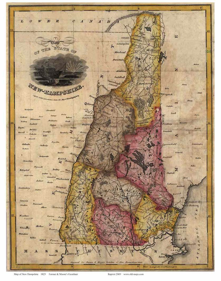 In this historic map of New Hampshire, the seven counties of New Hampshire are different colors and labeled. On the state's borders,