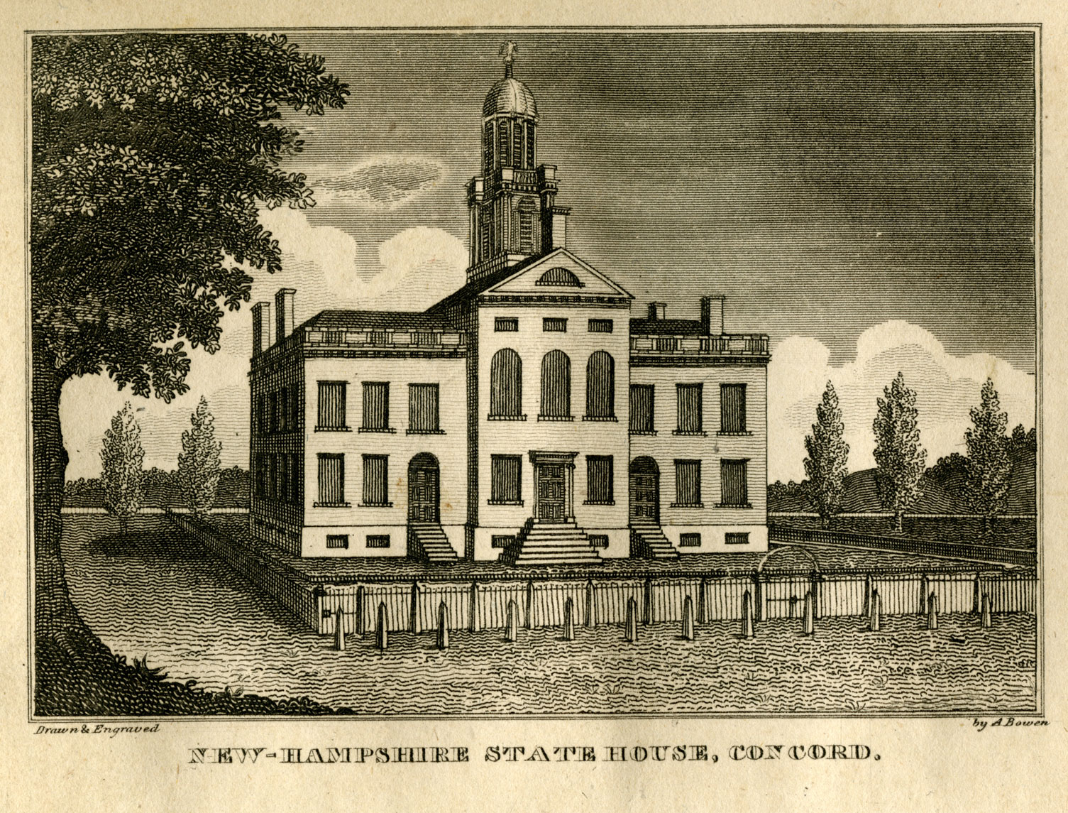 An engraving shows a large, stately building with rows of windows, four chimneys rising from the corners, and a tower with cupola. It sits on a flat landscape, bordered with a fence and trees. A large deciduous tree borders the left side of the engraving. The title reads