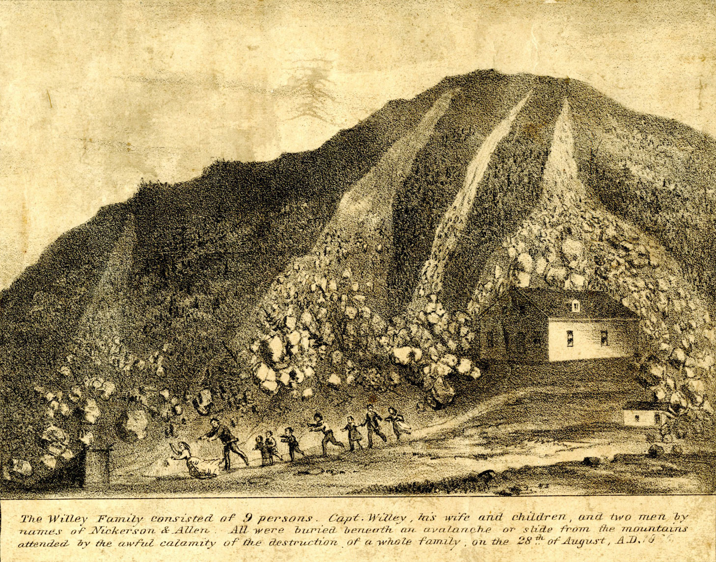 A drawing of a hillside shows a dark hill with four rock slides. Each rockslide looks like a river at the top of the hill, but resolves into individual rocks as it descends. The rightmost rockslide encircles a small house at the bottom of the hill. Along the bottom of the drawing, nine people are seen running in a line away from the house. Although they are small figures, based on their sizes and dress, they are a mix of men, women, and children. The four rockslides end all along their path. There are three lines of small writing below the drawing which describe the drawing.