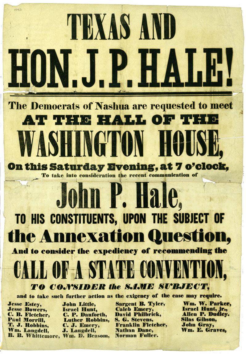 An advertisement with black print on white background announces speech by John P. Hale, using capital letters and bold printing for emphasis on occasion. Details include