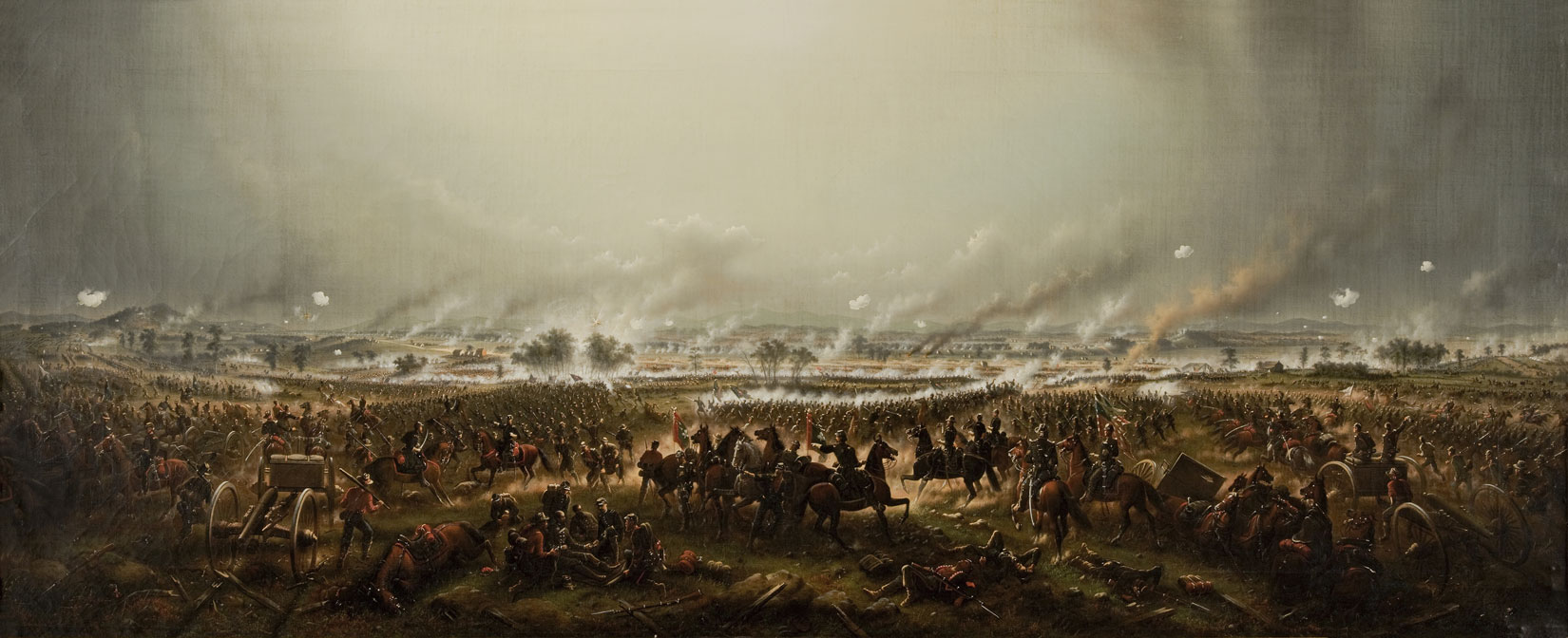 A large, rectangle, color painting of a battle has many details. The sky covers the top half of the painting, and has bright and dark grey parts, but generally is distinguished by the many columns of smoke rising from the battle. The battle covers a large, wide open landscape and the viewer can see far into the distance where the battle ranges. Various details visible include riderless horses, men dead on the ground, Civil War cannons being fired, groups of infantry soldiers fighting at close quarters, men on horseback charging, and battered flags flying.