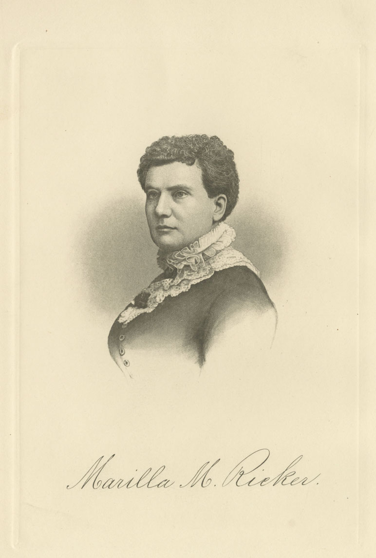 A black and white portrait of a woman shows her head, shoulders, and upper torso. She is dressed in formal 1800s clothing, with a dark dress and lace collar. Her hair is parted on the side and pulled back. She is facing away from the viewer towards the left, but turns her head to look over her shoulder, just off to the left side of center. She is not smiling. At the bottom of the portrait is written