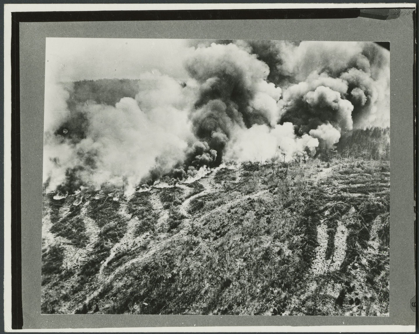 A black and white photograph of a wide landscape is seen. The landscape is hilly but not steep; there are trees and brush throughout. There are also several dirt paths across the hill. In a line across the photograph, a wildfire is raging. The smoke reaches far into the sky and is dark and voluminous. Flames are seen across the hill in a thick line.