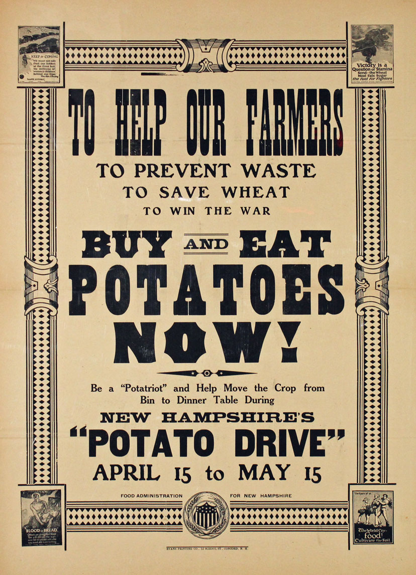 A black and white poster has a border and printing of various sizes. The border has four small corner pictures encouraging public support for food conservation efforts. The text reads in part