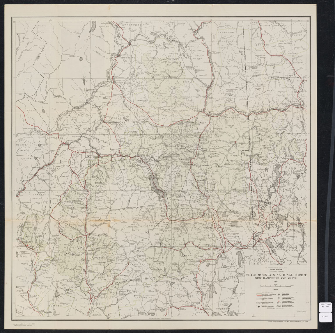 A large black and white square map is shown. It is dense with information, and includes markings for rivers, mountains, lakes, as well as town, county, and landmark notations. On the right is a black dotted border, with New Hampshire labeled to the left and Maine to the right. It is titled