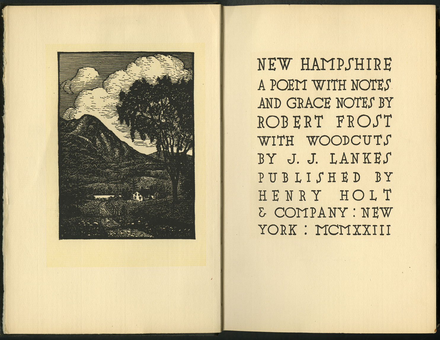 An open book is shown with an illustration and title page. The illustration on the left shows a woodcut of a rural mountain scene. A country lane with a large tree next to it leads to a small house and pond. There are mountains and hills in the background, and clouds in the sky. The title page on the right reads