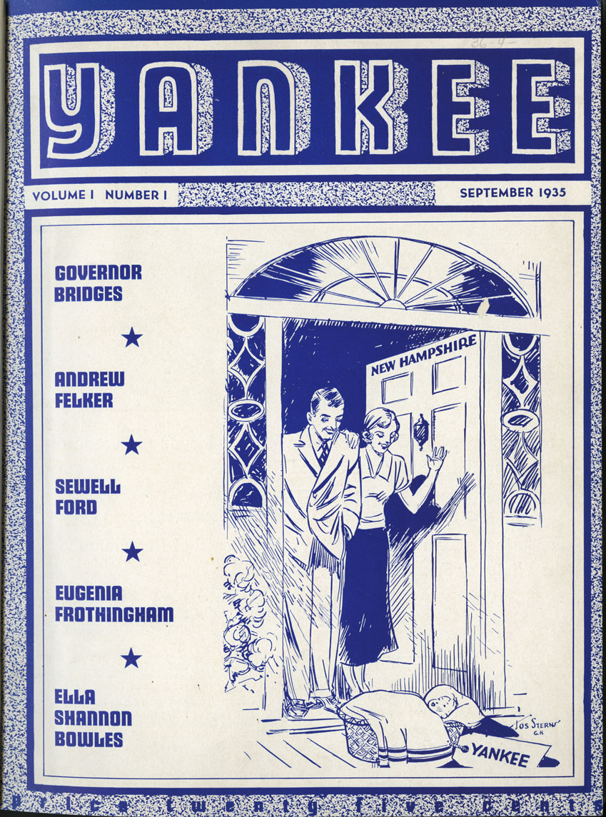 The cover of a magazine is white with blue printing and a drawing. The large title at the top says