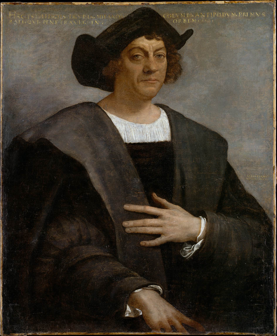 Formal painting shows the torso and head of a man with a Middle Ages-style dark clothing and a formal hat. He has chin-length curly brown hair, is slightly frowning, and has one hand on his chest.