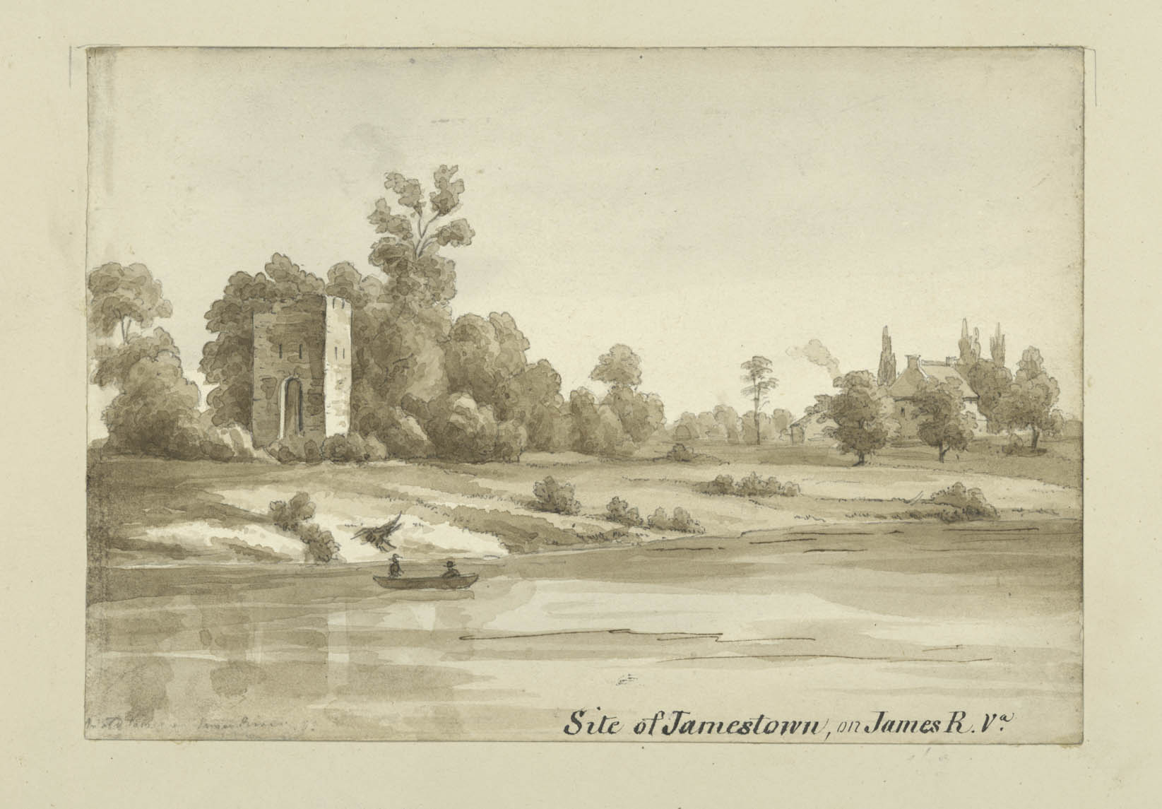 A black and white drawing of a river scene shows a canoe with two people on the river, and trees and grass lining the bank. There is a house in the distance hidden by trees, and a small stone tower closer. Text reads