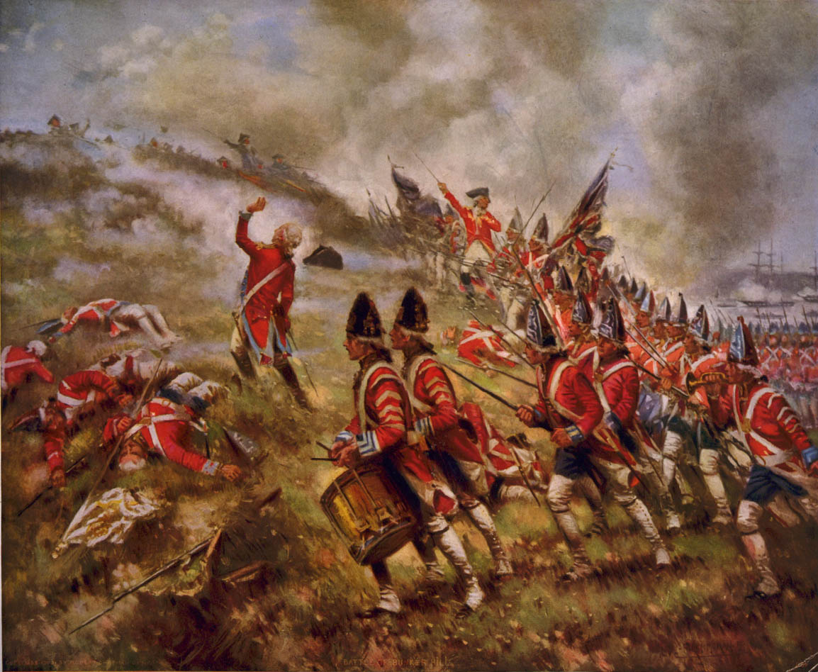 Soldiers wearing late-1700s uniforms with red coats and blue pants run up a hill in a painting. They hold muskets with bayonets. Some are leading the charge, some are drumming, and some hold British flags. On the left side, there are soldiers struck down. One soldier appears to be falling. In the distance, smoke from a battle rises and large ships are visible.