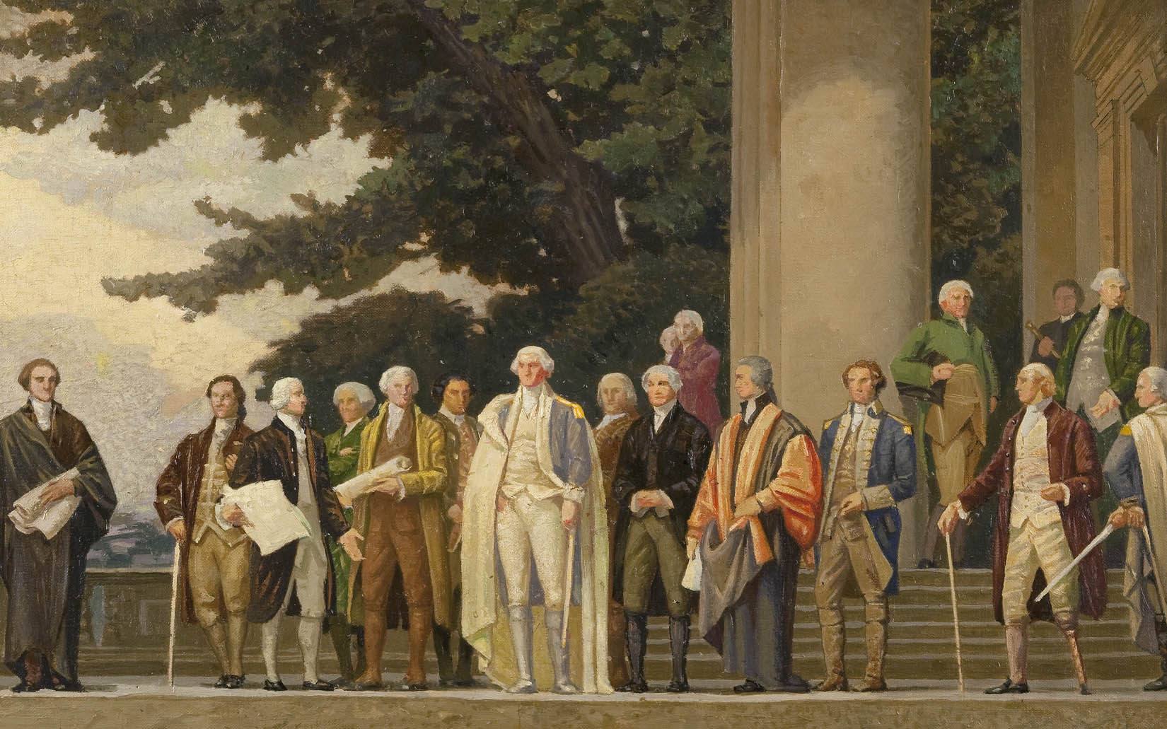 A long rectangle painting shows many figures of men dressed in formal suits from the 1700s. They are standing on some steps in groups, talking together and looking at one man. That man has a long white object in his hand. The background is a building with large columns on the left, trees, and a sky filled in with clouds. Flags are massed on the extreme right.
