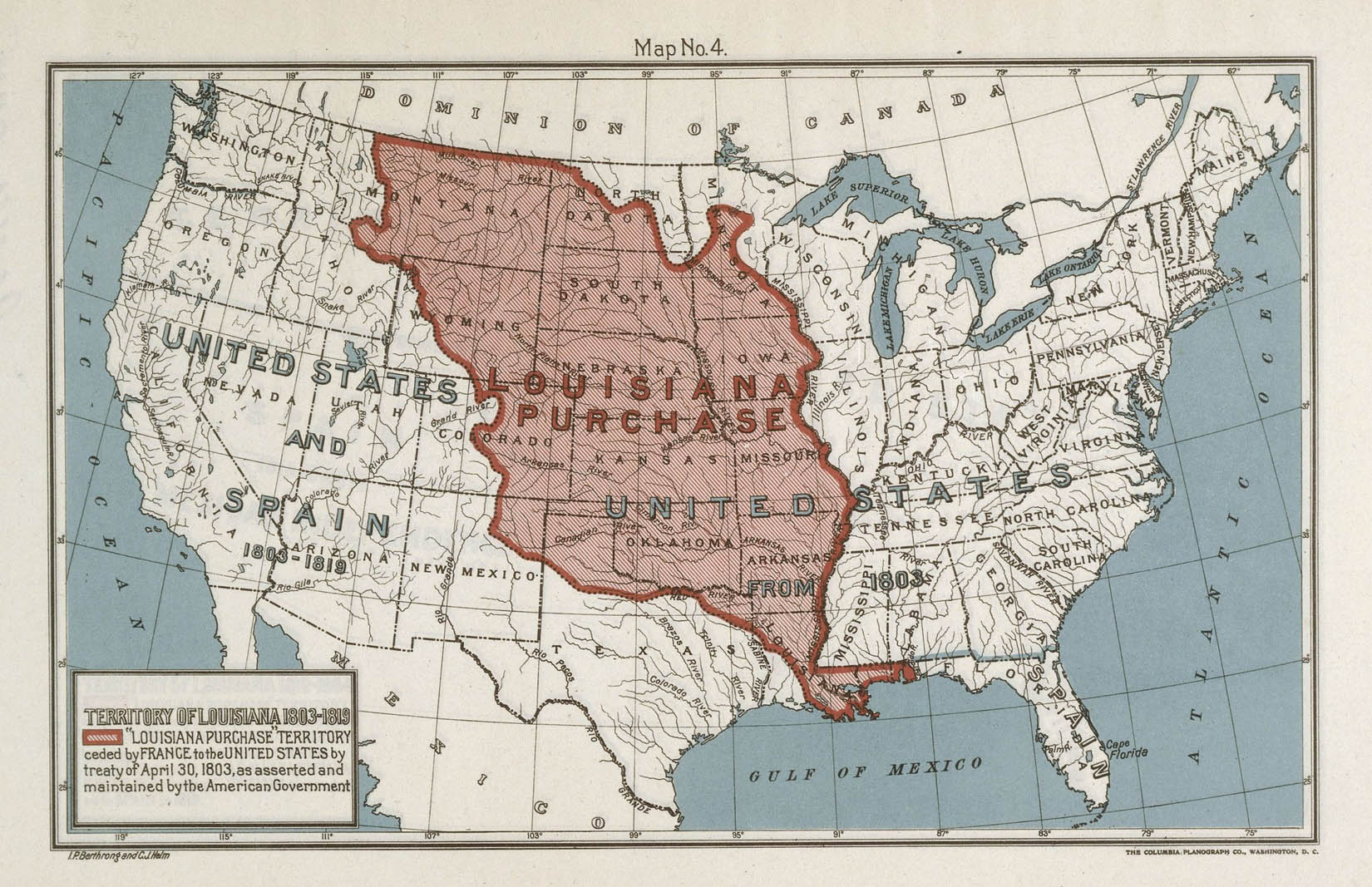 A historic map is shown of the United States and parts of Mexico and Canada. Bodies of water are blue and labeled, and rivers are shown as black lines. Major rivers are labeled. There are two layers of data. First, modern-day U.S. states are outlined in dotted black lines. Second, the  center third of the United States is colored red and labeled