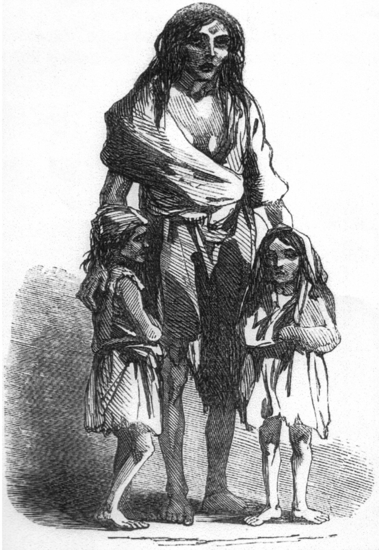 A black and white sketch drawing shows a woman in rags standing with long, messy hair. She has her arms around two small children, one on each side of her. The children are also dressed in rags. All three figures show hopelessness on their faces.