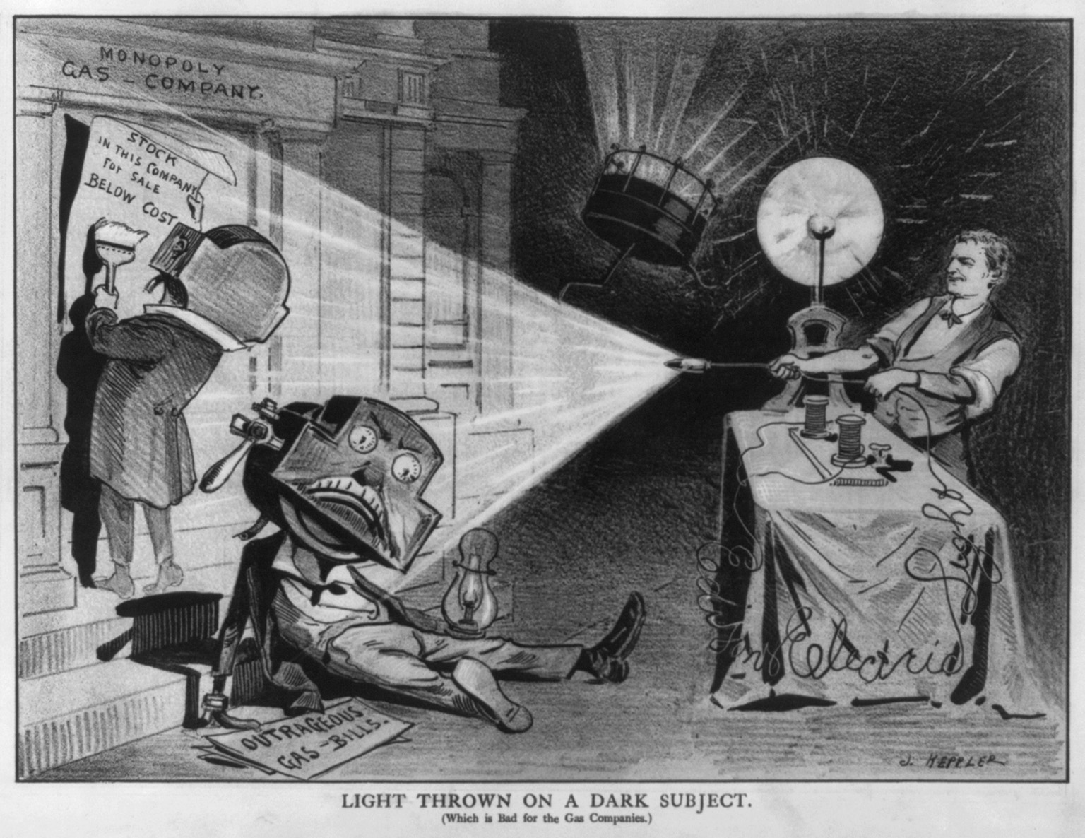 A hand drawn cartoon shows three figures. A man on the right is behind a table and is using wires and various kinds of bulbs. He shines a beam of light to the left side of the cartoon. The two left figures are men-like with gas meters for heads. The light shines on them both. One has fallen on the ground and has an oil lamp in one hand and a sign that reads