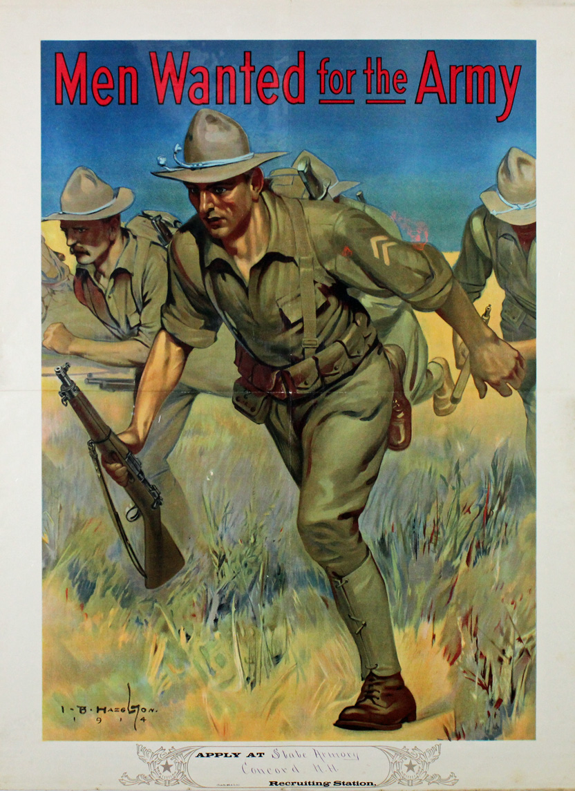 In a colorful poster, a drawing shows soldiers running through a field. They are wearing wide-brimmed hats, green uniforms with backpacks and belts equipped with gear. They hold rifles. At the top of the poster in red, it reads