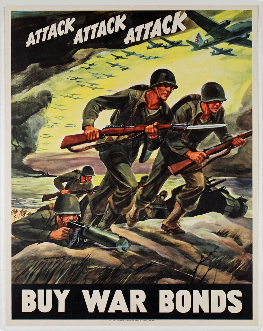 A colorful poster shows soldiers running up and over a mound of earth. They have helmets, uniforms, backpacks, and rifles with bayonets. Two are on the top of the mound, and more soldiers are running behind them along with a tank. In the distance behind them, there is a beach with more soldiers and boats in the water. Overhead, there are clouds and small airplanes flying in the same direction as the soldiers are running. In the clouds above it reads