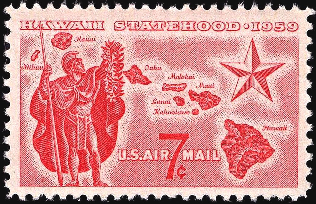 A closeup of a white stamp with red print shows a man with a spear, helmet, and cape on the left. He holds up a garland to the right. On the right is a large, five-pointed star. In the middle are islands, arranged in an arc from bottom right to upper left. They are labeled, the biggest one named